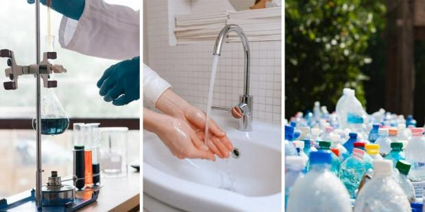 Images of chemicals, tap water and waste