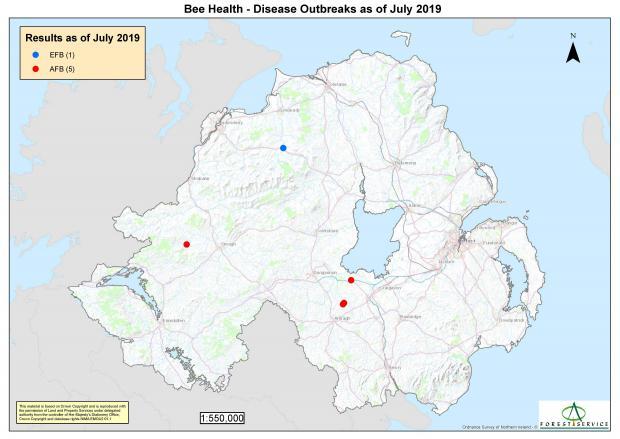 Bee Health - DIsease Outbreaks as of July 2019