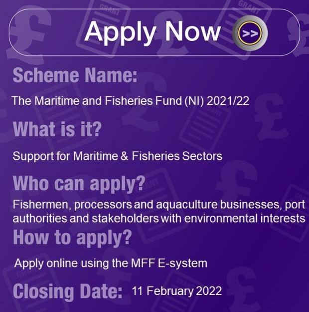 Maritime and Fisheries Fund (NI) 21/22, Support for Maritime & Fisheries sector for Projects delivering economic growth, Apply online using the MFF E-system, Closes 31 March 2022