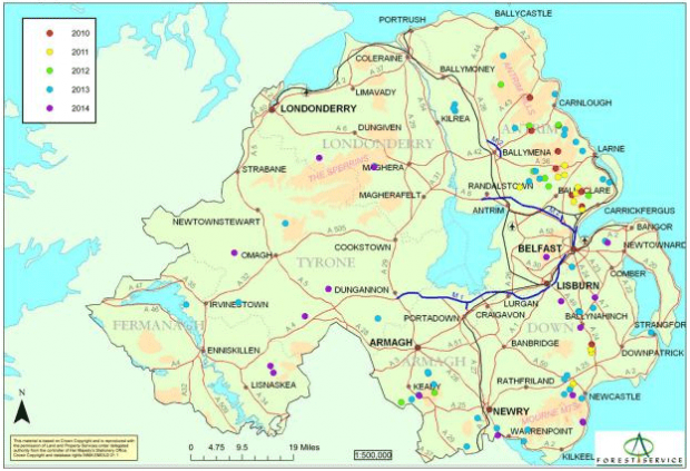 Phytophthora ramorum Larch outbreak sites