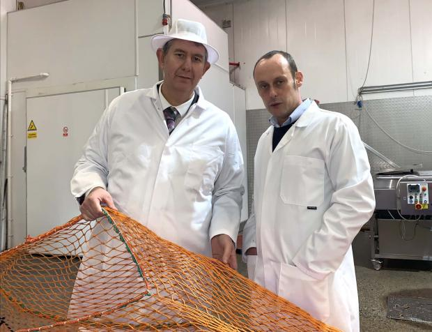 Minister Poots pictured with Ben Collier at Sea Source factory in Kilkeel, Co.Down