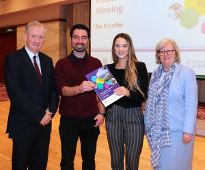 Dr Denis McMahon DAERA Permanent Secretary, 3rd Year PhD students Phil Hamill and Robyn McKenna and Professor Carol Curran OBE,PhD of Ulster Univrsity who was Guest Speaker at the 2018 Symposium